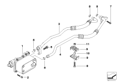 Heat exch./transmission oil cooler line