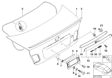 Single components for trunk lid