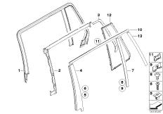 Trims and seals, door, rear