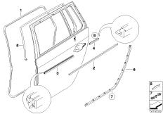 Door weatherstrip, rear