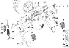 Pedal assy w over-centre helper spring