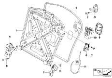 Seat, rear, seat frame, through-loading