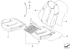 Seat, front, cushion and cover