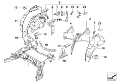 Rear wheelhouse/floor parts