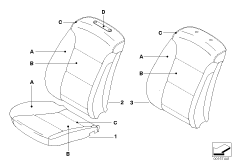 Individual cover, basic seat, front, LC
