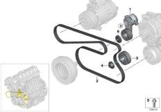 Belt drive-alternator/AC/power steering