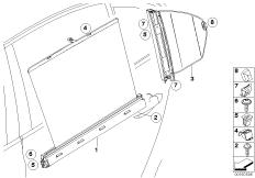 Roller sun visor, rear door