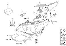 Individual parts for halogen headlamp