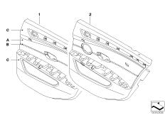 Indiv.door trim panel, leather, rear, LC