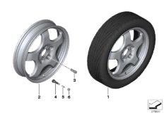 Set emergency wheel with tyre