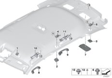 Mounting parts, roofliner