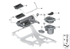 Mounted parts for centre console