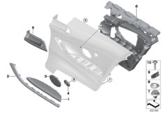 Mounting parts, side trim panel, rear