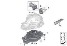 Rear axle diff, servomotor / oil sump