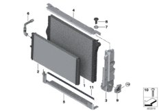 Cooling system radiator/mounting parts