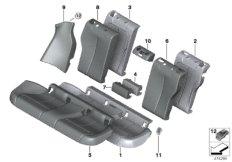 Seat,rear,cushion&cover, through-loading