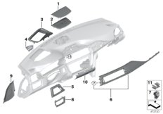 Mounting parts, instrument panel, top
