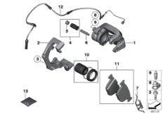Rear wheel brake, brake pad sensor