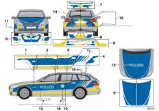 Sticker police Bavaria blue
