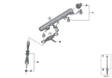 High-pressure rail/injector/mounting