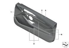 Indi.door trim panel,full leather, front
