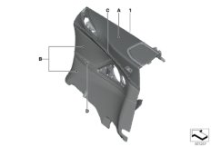 Individual side trim panel, full leather